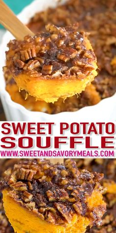 Sweet Potato Souffle is a delicious, rich and creamy side dish. Topped with crunchy, oven roasted pecans and a sprinkle of cinnamon sugar. day dinner ideas Sweet Potato Souffle Recipe [VIDEO] - Sweet and Savory Meals Sweet Potato Souffle, Sweet Potato Casserole, Sweet Potato Pecan, Breakfast Casserole, Fall Recipes, Holiday Recipes, Egg Recipes, Mini Pie Recipes, Mexican Recipes