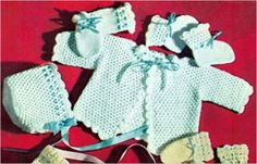 Crocheted Beauty Baby Set - Crochet Pattern for Sweater, Booties, Mittens and Hat - Download Kindle Baby Crochet Pattern eBook:  (aff link)