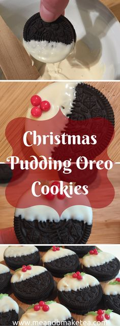 These ten minute no bake #Christmas pudding #Oreo cookies are so easy to make and require minimal preparation and effort.    They would make the perfect addition to any party. And for something that takes zero effort, they look pretty impressive!