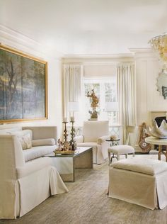 living room, shades of white