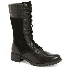 """Timberland 'Bethel' Boot, 1"""" heel ($180) ❤ liked on Polyvore featuring shoes, boots, black, mid-calf boots, timberland boots, black mid calf boots, genuine leather boots and mid-calf lace up boots"""