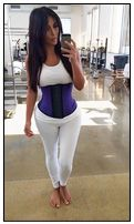 Kim Kardashian wearing an Ann Chery Waist Cincher Sports Corset. Sold at www.thelondoncorsetcompany.co.uk