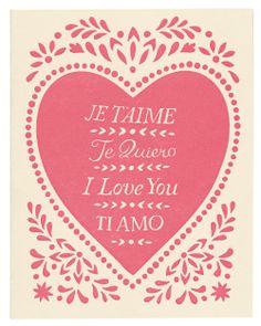 hand-printed letterpress JE T'AIME card. $4.00, via Etsy.