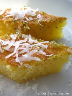 Almost Turkish Recipes: Semolina Sponge Cake (Revani) Polenta, Greek Sweets, Greek Desserts, Ramadan Desserts, Small Desserts, Turkish Recipes, Greek Recipes, Moroccan Recipes, Semolina Cake