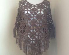 Womens crochet lace capelet / poncho in magenta by CoffyCrochet