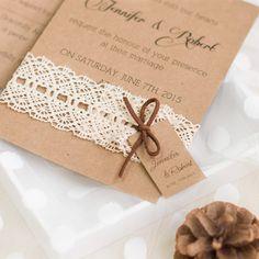 Faire part de mariage de la dentelle en papier brun épais JM704 A partir de 1.70€ faire part de mariage pas cher, sur mesure - joyeuxmariage.fr