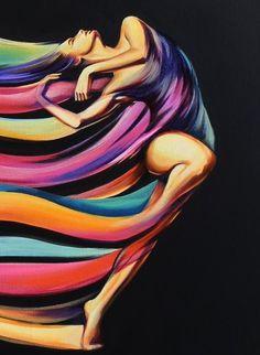 ORIGINAL ART Fantasy rainbow dancer nude female abstract oil painting G. Project Life Scrapbook, Portrait Art, Portrait Paintings, Female Art, Painting & Drawing, Amazing Art, Watercolor Art, Pop Art, Art Drawings