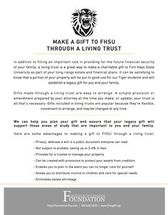 Make a Gift to Fort Hays State University Through a Living Trust