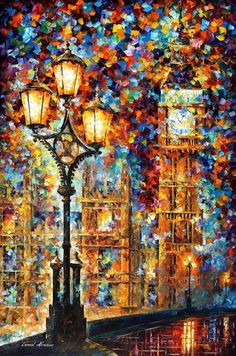 Original Recreation Oil Painting on Canvas  This is the best possible quality of recreation made by Leonid Afremov in person.    Title: Londons