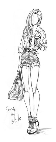 This character pencil sketch is interesting because of the pose... Her shorts are too skimpy for my taste. :T