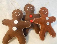 Primitive Felt Gingerbread Men Christmas Ornaments - Set of Three. $10.00, via Etsy.