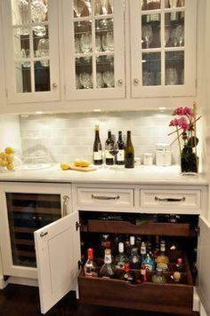 Bright locking liquor cabinet in Kitchen Traditional with Liquor Storage next to Locked Liquor Cabinet alongside Bar Area and Butler Pantry - Home Decor Kitchen Pantry, New Kitchen, Kitchen Storage, Kitchen Dining, Kitchen Decor, Kitchen Bars, Bar In Dining Room, Dining Room Cabinets, Ikea Cabinets