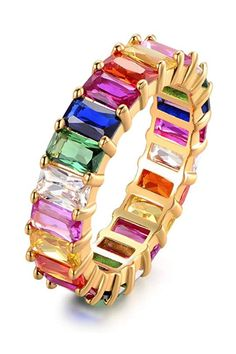 Add a pop of color with this statement ring that will match any outfit in your closet. Colorful gemstones are set in a gold-plated band. #amazonfinds #jewelery #accessories #fashion #southernliving Gold Plated Bracelets, Gold Plated Necklace, Bar Stud Earrings, Gold Hoop Earrings, Trendy Jewelry, Jewelry Trends, Jewelry Box, Southern Fashion, Southern Style