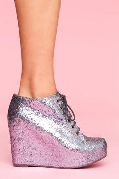 99 Tie Wedge - Pewter Glitter - StyleSays