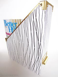 Magazine file makeover with Sharpie and spray paint