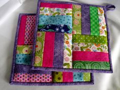 CELEBRATE QUILTING  Spring Striped Potholders by NeedleLove2, $13.00