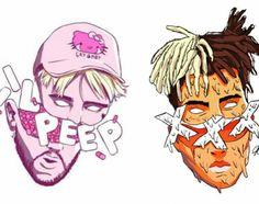 X and peep Arte Hip Hop, Hip Hop Art, Rap Us, Rapper Art, Anime Rapper, Lil Peep Hellboy, Dope Cartoons, Supreme Wallpaper, Rap Wallpaper
