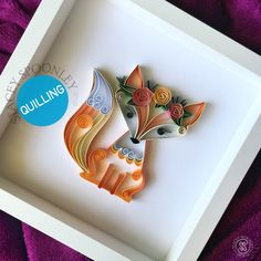 Fox Art, Woodland animals decor, Nursery wall art, Quilled art, Fox gift