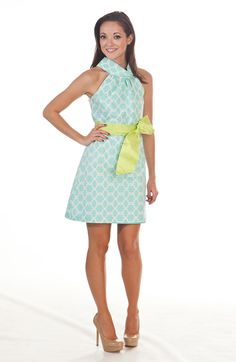 love everything about this- neckline, print, bow, color