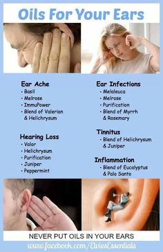 Essential Oils that can be used for ear health. Never put Essential Oils in your ears. Liked the chart.