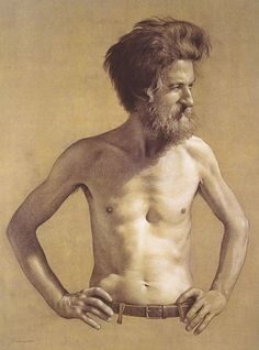 """Santiago"" (1998) by contemporary figurative artist Aldo Bahamonde (Chilean b. 1963), conté pastel on paper, shirtless elderly male anatomy drawing."