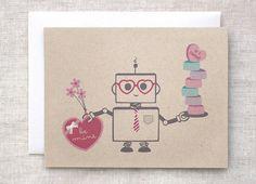 Nerdy Valentine's Day Card or Art Print  Painted von HappyDappyBits, $5.00
