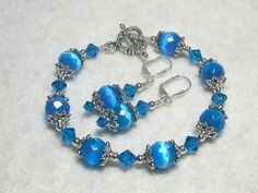 Blue Bracelet Shimmery Catseye Bracelet and Earrings