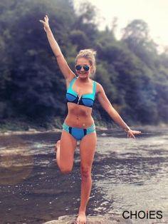 Blue Contrast Push-up Padded Bra Swimwear Bikini With Zipper Detail | Choies