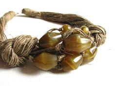 Vetro olive  collana di lino di GreyHeartOfStone su Etsy
