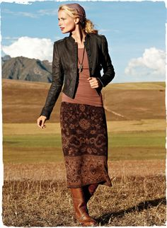 Turkish rug motifs are jacquard knit in berry tones on our boot-length straight skirt in pima baby alpaca and wool Mode Outfits, Skirt Outfits, Dress Skirt, Fashion Outfits, Womens Fashion, Fashion Over 50, Look Fashion, Winter Fashion, Winter Outfits Women