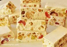 Once you take a bite of this chewy nougat candy filled with the heady taste of honey, bits of sweet cherry, and the crunch of roasted pistachios and almonds, you will be hooked. Cake Decorating Store, Cherry Candy, Sweet Cherries, Candy Recipes, Yummy Recipes, Recipies, Pistachio, Sweet Treats, Sweets