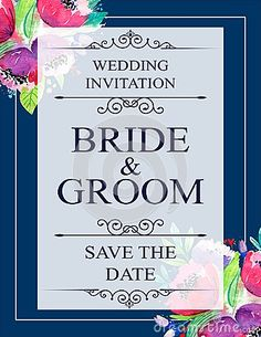 Illustration about Wedding invitation card with flowers, and dividers, ideal for weddings. Pink and grey colors. Illustration of blue, automn, floral - 111594221 Grey Colors, Wedding Invitation Cards, Dividers, Pink Grey, Bride Groom, Save The Date, Weddings, Floral, Flowers