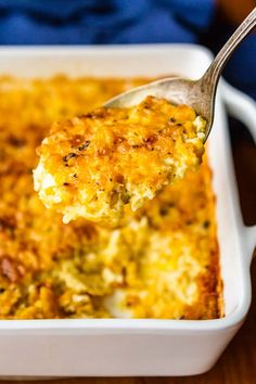 Corn Casserole -- This baked cream corn casserole recipe is SO good you'll want to scrape the dish completely clean to get every last bit of caramelized goodness from the corners! It's on the menu for every family gathering I host… | cream corn casserole | sweet corn casserole | corn casserole from scratch | easy corn casserole recipe | custard corn | corn pudding | find the recipe on unsophisticook.com #easter #easterrecipes #sidedishes #corncasserole #unsophisticook
