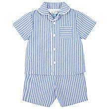 Buy John Lewis Stripe Woven Pyjamas, Blue/White Online at johnlewis.com