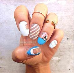 Shark Week nail wraps designed by Nina Nailed It.