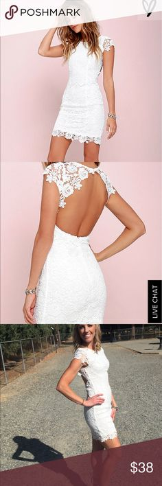 Backless White Lace Dress Lulu's Beautiful dress! Wore to one of my bridal showers and received tons of compliments! It fits great! From a smoke free home, cleaned-no holes or tears! Lulu's Dresses Mini