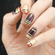 Copycat Claws: The Digit-al Dozen does Inspired by Pinterest/Magazines - Day 2 Autumn Striped Nails