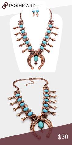 "Statement Necklace Set • Necklace Size : 24""+3"" L • Pendant Size : 3"" L • Earrings Size : 2"" L • Tribal Squash Turquoise necklace Jewelry Necklaces"