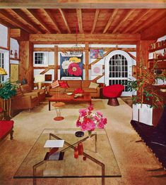 70's Living Room Design From House & Garden's Complete Guide To Interior Decoration, 1970. Vintage Interior Design, Wood Paneling, Living Room Designs, Home Furniture, Retro Vintage, The Past, Interior Decorating, Home And Garden, House Styles