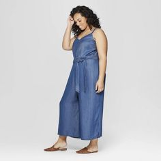 382fcf5ab0e Women s Plus Size Sleeveless Denim Jumpsuit - Universal Thread Medium Blue X
