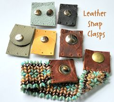 I ordered these clasps and they are so beautiful.  Shop is very helpful! Qty 4 Medium Soft Leather Snap Clasp in Your Choice of by ORRTEC, $20.00 http://bandanagirl.indiemade.com/
