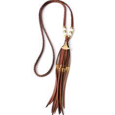 Boho Jewelry Leather Tassel Necklace Tribal Necklace by xxxAZUxxx