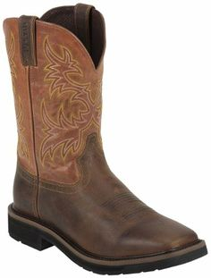 Justin Men's Rugged Stampede Pull-On Work Boot Square Toe Tan 11.5 EE US - http://authenticboots.com/justin-mens-rugged-stampede-pull-on-work-boot-square-toe-tan-11-5-ee-us/