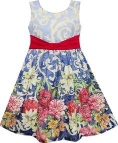 Mädchen Kleid Ärmellos Blühend Blume Garten drucken Blau