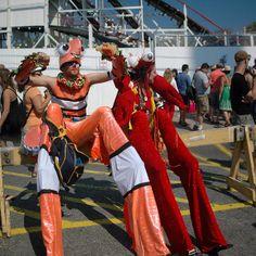 Mermaid Parade 2008 - Stiltwalkers at Rest Pano Mermaid Parade, Ronald Mcdonald, Rest, Leather Jacket, Guys, Jackets, Fashion, Studded Leather Jacket, Down Jackets