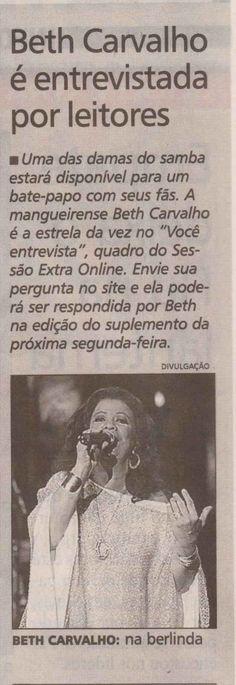 #BethCarvalho 2008 Jornal Extra
