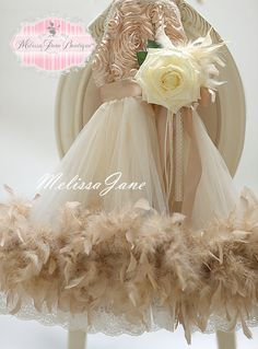 Dreamy Champagne Feathers And Lace Flower by MelissaJaneBoutique