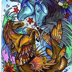 sea horse, fantasy tattoo art prints start at $10