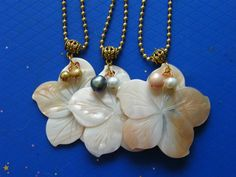 Flower Carved Mother of Pearl with Fresh Water by DaKsJewelry