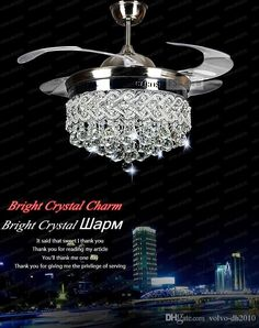 DHgate Anniversary Sale, All Categories UP TO OFF! Finding best online invisible crystal light c Crystal Light, Ceiling Fan Crystal, Crystal Lighting, Modern Ceiling Fan, Crystal Lamp, Modern Chandelier, Creative Lighting Fixtures, Chandelier Shades, Love And Light